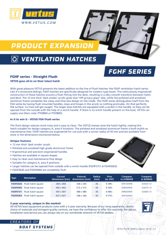VETUS FGHF series ventilation hatches - Information Sheet