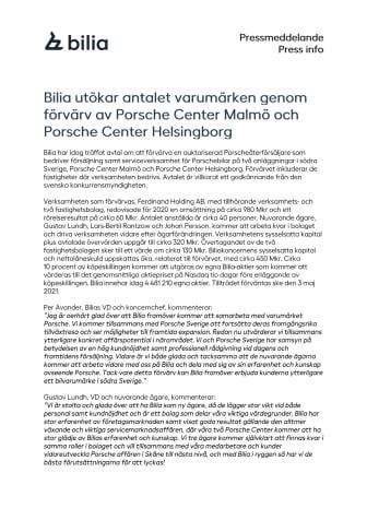 Bilia utökar antalet varumärken genom förvärv av Porsche Center Malmö och Porsche Center Helsingborg
