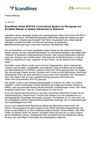 Scandlines nimmt APATEQ´s innovatives System zur Reinigung von Scrubber-Wasser in Gedser (Dänemark) in Gebrauch
