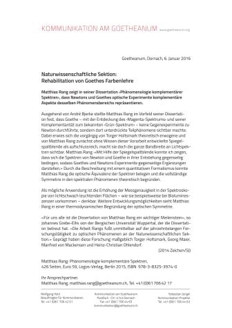 Naturwissenschaftliche Sektion: Rehabilitation von Goethes Farbenlehre