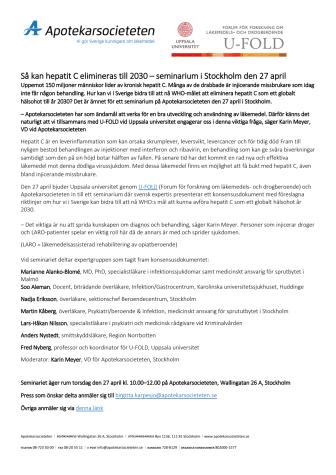 Så kan hepatit C elimineras till 2030 – seminarium i Stockholm den 27 april