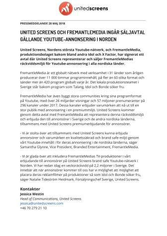 United Screens och FremantleMedia ingår säljavtal gällande Youtube-annonsering i Norden