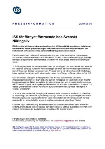ISS får förnyat förtroende hos Svenskt Näringsliv
