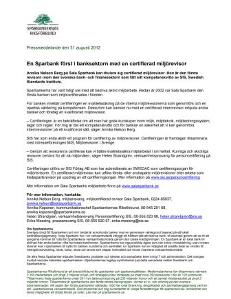 En Sparbank först i banksektorn med en certifierad miljörevisor