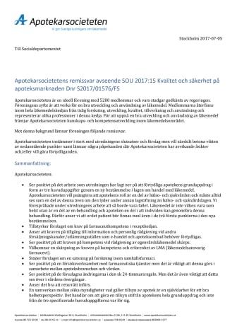 Apotekarsocietetens remissvar Kvalitet och säkerhet på apoteksmarknaden