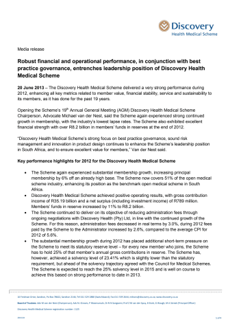 Robust financial and operational performance, in conjunction with best practice governance, entrenches leadership position of Discovery Health Medical Scheme