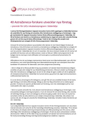 40 AstraZeneca-forskare utvecklar nya företag – premiär för UICs inkubatorprogram i Södertälje