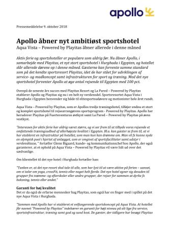 Apollo åbner nyt ambitiøst sportshotel