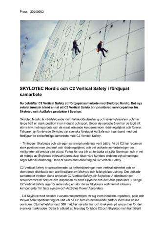 SKYLOTEC Nordic och C2 Vertical Safety i fördjupat samarbete