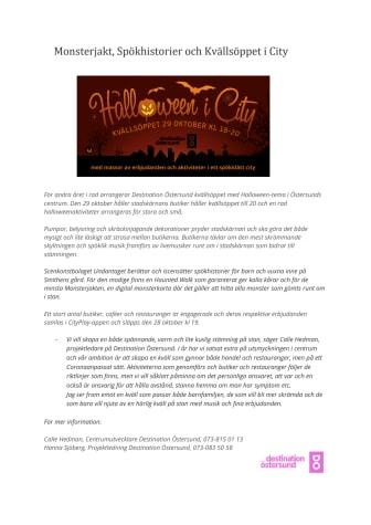 Monsterjakt, Spökhistorier och Kvällsöppet i City