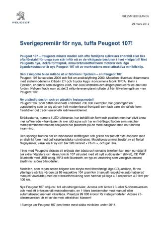 Sverigepremiär för nya, tuffa Peugeot 107!