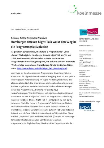 Hamburger dmexco Night Talk weist den Weg in die Programmatic Evolution