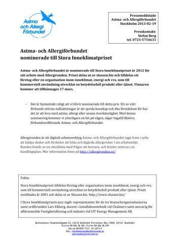 Astma- och Allergiförbundet nominerade till Stora Inneklimatpriset
