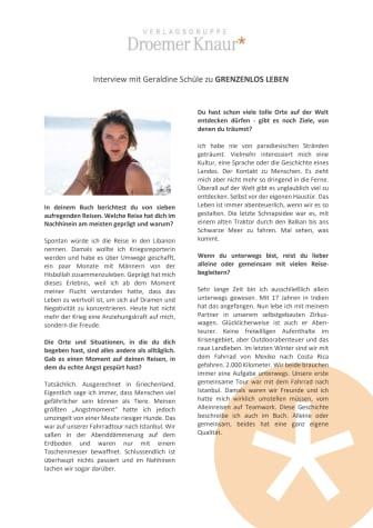 """Interview: Geraldine Schüle über """"Grenzenlos leben"""""""