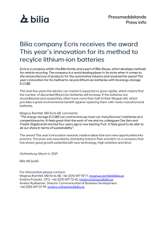 Bilia company Ecris receives the award This Year's Innovation for its method to recylce lithium-ion batteries