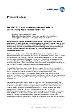 IAA 2018: BPW stellt innovative elektrohydraulische Zusatzlenkung Active Reverse Control vor