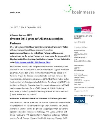 dmexco 2015 setzt auf Allianz aus starken Partnern