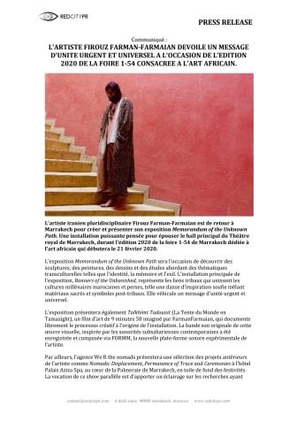 L'ARTISTE FIROUZ FARMAN-FARMAIAN DEVOILE UN MESSAGE D'UNITE URGENT ET UNIVERSEL A L'OCCASION DE L'EDITION 2020 DE LA FOIRE 1-54 CONSACREE A L'ART AFRICAIN.