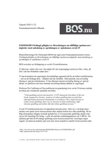 BOS remissvar på regeringens förlängda covid-19-restriktioner