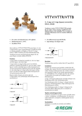 Produktblad för VTTV / VTTR / VTTB