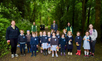 Mayor joined by staff and pupils from Seaview Primary School and members of the Council's Parks Team who facilitated the Forest Celebration Day