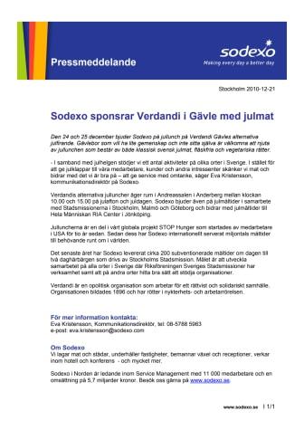Sodexo sponsrar Verdandi i Gävle med julmat