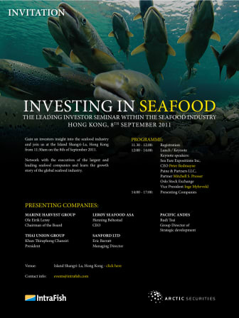 Investors and seafood executives will gather in Hong Kong next month to discuss the potential of seafood investments in Asia.