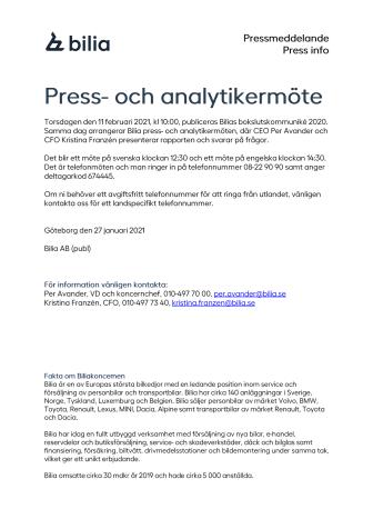 Press- och analytikermöte