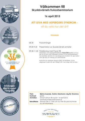 Att leva med Aspergers syndrom - vårens andra frukostseminarium 16 april - SEMINARIET ÄR FULLSATT
