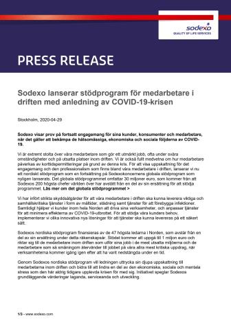 Sodexo lanserar stödprogram för medarbetare i driften med anledning av COVID-19-krisen