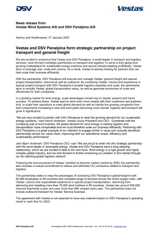 Vestas and DSV Panalpina form strategic partnership on project transport and general freight