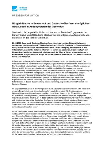 Bürgerinitiative in Beverstedt und Deutsche Glasfaser ermöglichen Netzausbau in Außengebieten der Gemeinde