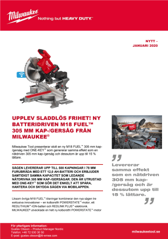 UPPLEV SLADDLÖS FRIHET! NY BATTERIDRIVEN M18 FUEL™ 305 MM KAP-/GERSÅG FRÅN MILWAUKEE®