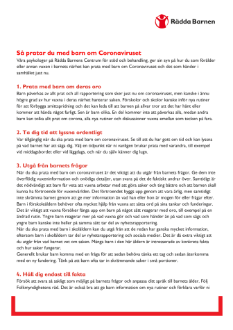 Svenska: så pratar du med ditt barn om corona