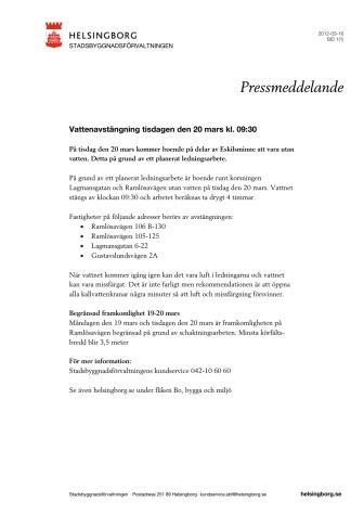 Vattenavstängning tisdagen den 20 mars kl. 09:30