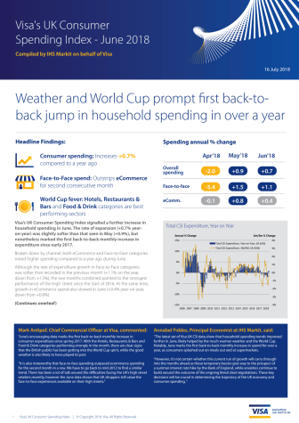 Weather and World Cup prompt first back-to-back jump in household spending in over a year