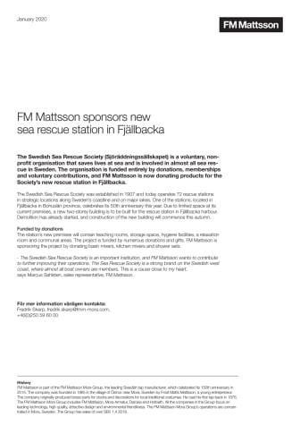 FM Mattsson sponsors new sea rescue station in Fjällbacka