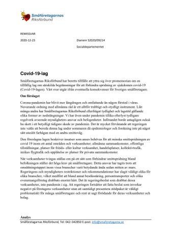 Remissvar Covid-19-lag Småföretagarnas Riksförbund.pdf