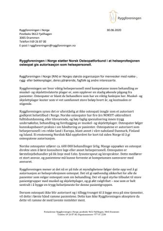 Støtteerklæring til Norsk Osteopatforbund (Ryggforeningen i Norge)