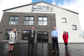 Pictured is MEA LAG Vice Chair, Ald Audrey Wales MBE; DAERA Minister Edwin Poots; Managing Director of Carey Cleaning Machines William Carey and MEA LAG Chair Kelli McRoberts