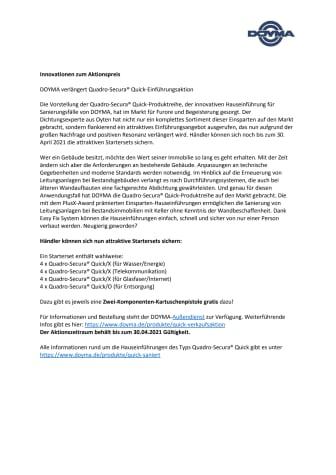 DOYMA-Pressemitteilung: Innovationen zum Aktionspreis: Quadro-Secura® Quick-Einführungsaktion wird verlängert