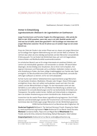 Immer in Entwicklung. Jugendsozialstudie ‹(Re)Search› der Jugendsektion am Goetheanum
