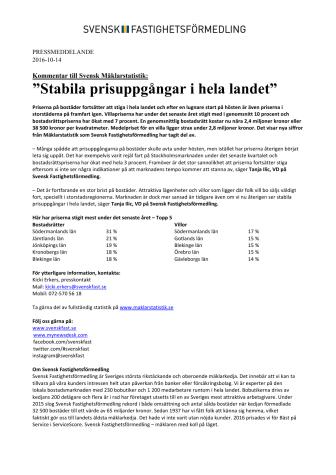 """Kommentar till Svensk Mäklarstatistik: """"Stabila prisuppgångar i hela landet"""""""