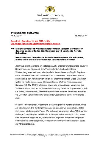 Pressemitteilung Staatsministerium Baden-Württemberg: Verleihung Verdienstorden des Landes Baden-Württemberg