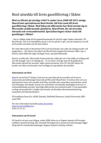 Bool utsedda till årets gasellföretag i Skåne