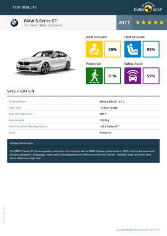 BMW 6 Series GT datasheet - Dec 2017