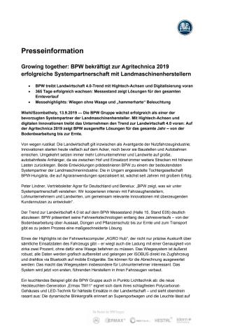 Growing together: BPW bekräftigt zur Agritechnica 2019 erfolgreiche Systempartnerschaft mit Landmaschinenherstellern