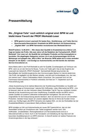 """Wo """"Original-Teile"""" noch wirklich original sind: BPW ist und bleibt klarer Favorit der PROFI Werkstatt-Leser"""