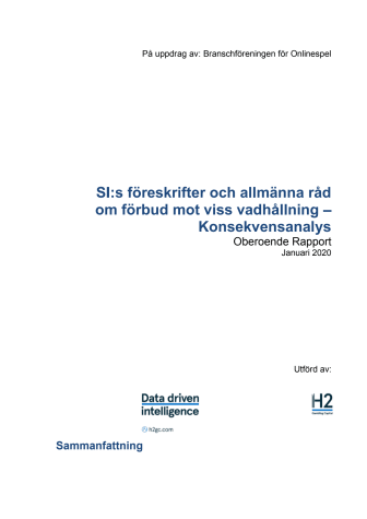 H2 Rapport om Spelinspektionens föreslagna föreskrifter