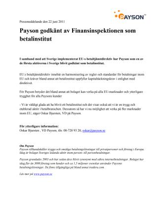 Payson godkänt av Finansinspektionen som betalinstitut